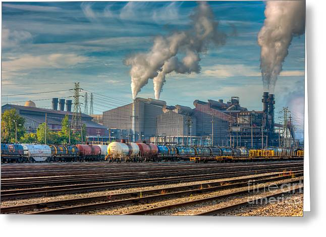 Enterprise Photographs Greeting Cards - Steel Mill and Freight Yard III Greeting Card by Clarence Holmes