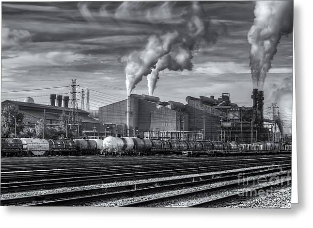 Enterprise Photographs Greeting Cards - Steel Mill and Freight Yard IV Greeting Card by Clarence Holmes