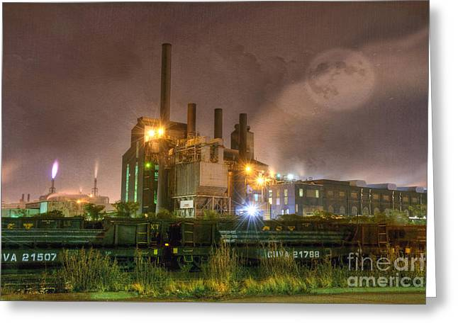 Building Exterior Photographs Greeting Cards - Steel Mill at Night Greeting Card by Juli Scalzi