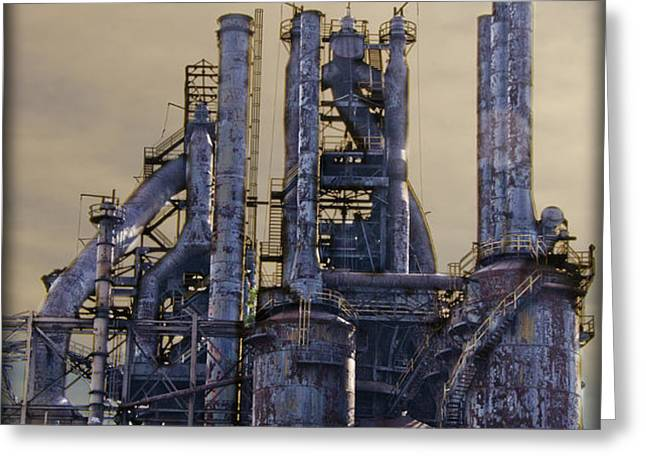 Steel Mill - Bethlehem Pa Greeting Card by Bill Cannon