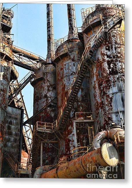 Abandoned Mill Greeting Cards - Steel Mill Blast Furnace Greeting Card by Paul Ward