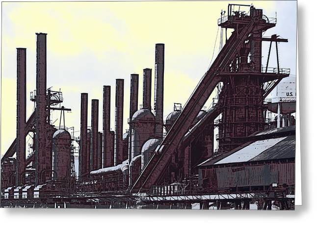 Steel Mill Blast Furnaces Greeting Card by Daniel Hagerman