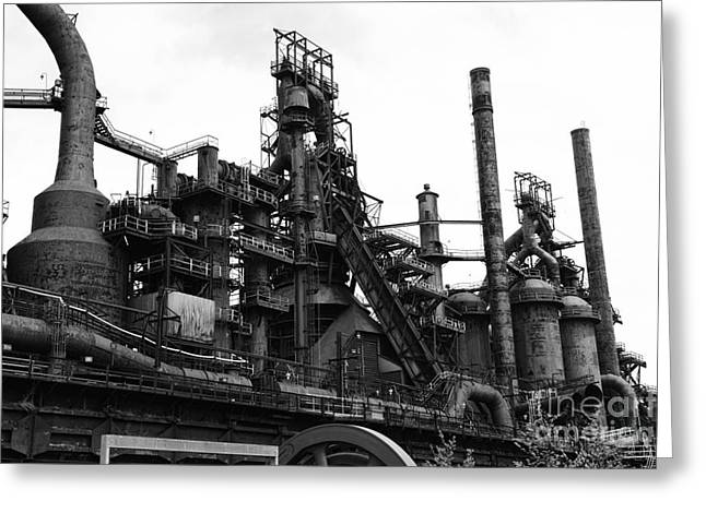 Abandoned Mill Greeting Cards - Steel Mill in Black and White Greeting Card by Paul Ward