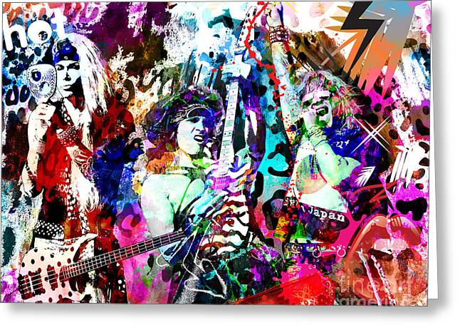Metal Art Greeting Cards - Steel Panther - Original Painting Art Print Greeting Card by Ryan RockChromatic