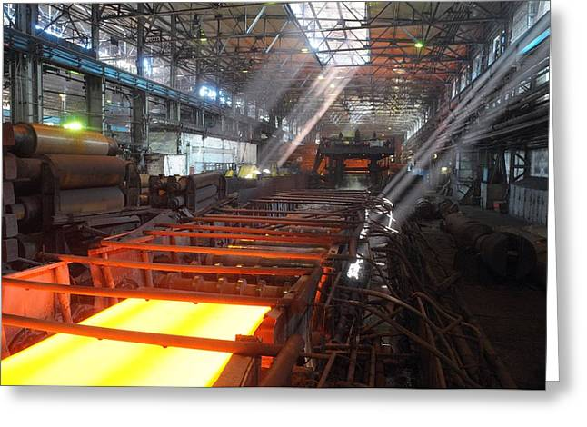 Metal Sheet Greeting Cards - Steel rolling mill Greeting Card by Science Photo Library