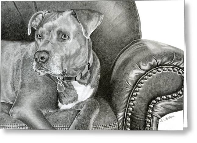 Dog On Couch Greeting Cards - Leather and STEEL Greeting Card by Sarah Batalka
