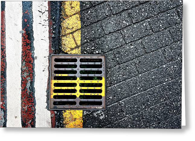 Sewer Greeting Cards - Steel Sewer On Floor Greeting Card by Mikel Martinez de Osaba