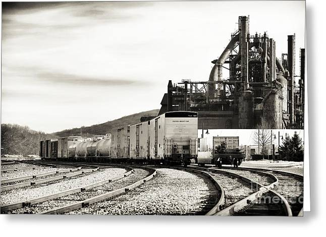 Black And White Train Track Prints Greeting Cards - Steel Shipping Greeting Card by John Rizzuto