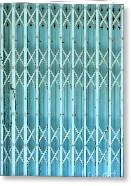 Steel Shutters Greeting Card by Antony McAulay