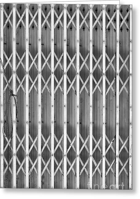 Steel Shutters Mono Greeting Card by Antony McAulay