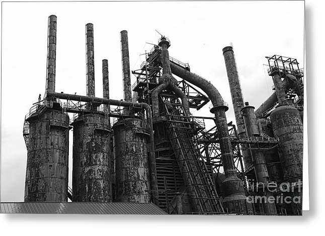 Abandoned Mill Greeting Cards - Steel Stacks Blast Furnace Greeting Card by Paul Ward