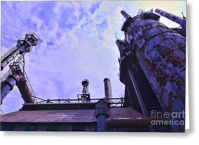 Abandoned Mill Greeting Cards - Steel Stacks Perspective Greeting Card by Paul Ward