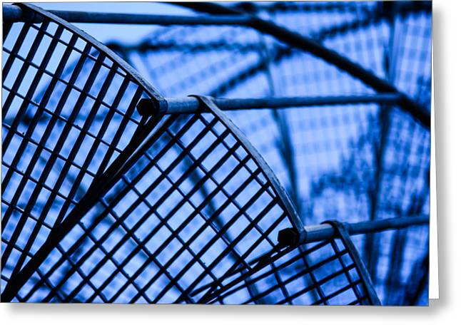 Industrial Background Mixed Media Greeting Cards - Steel stairs  closeup Greeting Card by Toppart Sweden