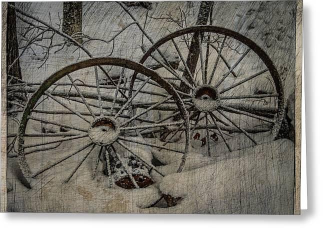 Wagon Wheels Greeting Cards - Steel Wheels Greeting Card by Paul Freidlund