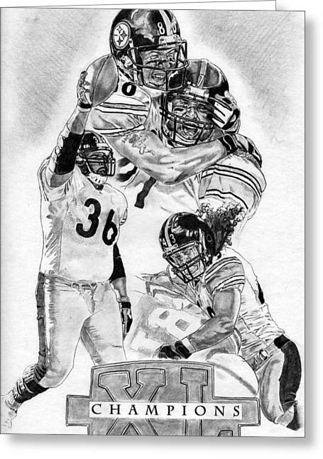 Pro Football Drawings Greeting Cards - Steelers Champions Greeting Card by Jonathan Tooley