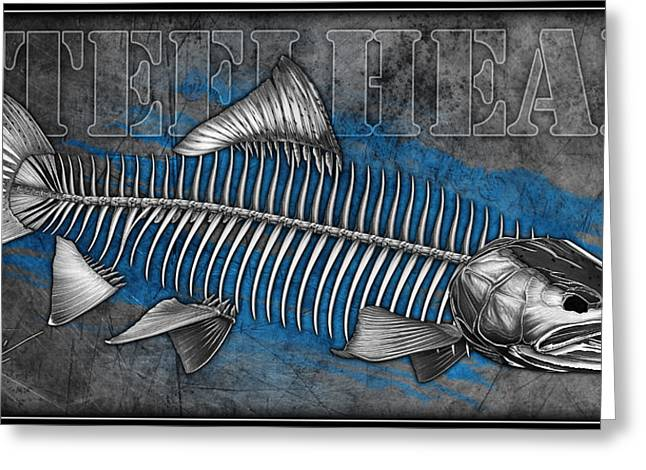 Trout Fishing Drawings Greeting Cards - Steelhead Skeleton Greeting Card by Nick Laferriere