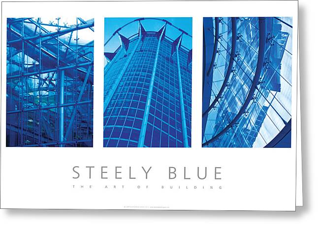 Framed Humorous Architectural Print Greeting Cards - Steely Blue The Art Of Building Poster Greeting Card by David Davies