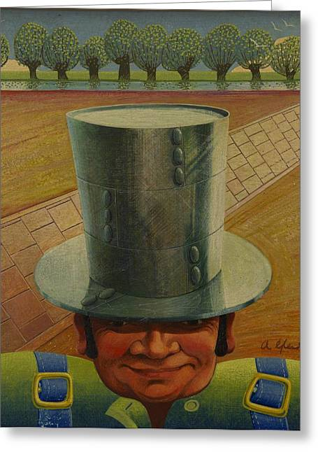 Rivets Paintings Greeting Cards - Steely Dan the Straightway Man Greeting Card by Arthur Glendinning