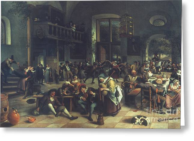Steen Greeting Cards - Steen: Merrymaking, 1674 Greeting Card by Granger