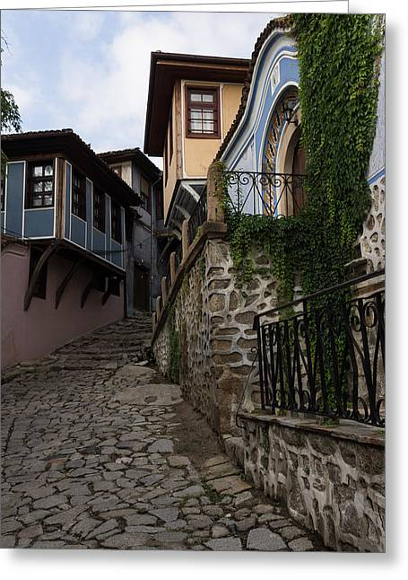 Overhang Greeting Cards - Steep and Twisting Cobblestone Street Greeting Card by Georgia Mizuleva