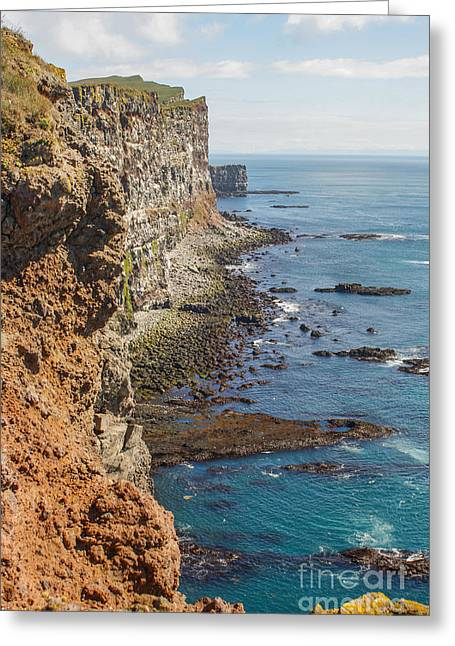 Rugged Cliffs Greeting Cards - Steep coast in Iceland Greeting Card by Patricia Hofmeester