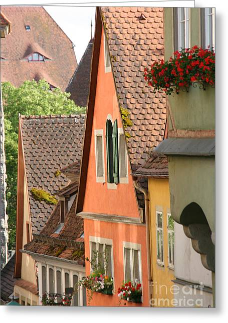 House Gable Greeting Cards - Steep Roofs In Germany Greeting Card by Holly C. Freeman