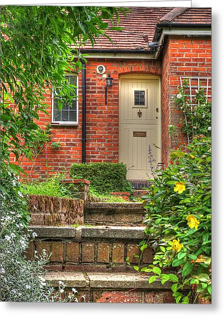 Entryway Greeting Cards - Steep Steps - Warm Welcome Greeting Card by Gill Billington