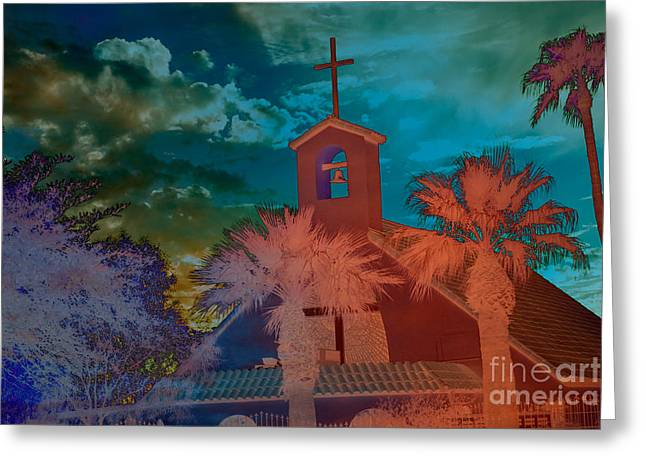 Steeple bell tower Greeting Card by Beverly Guilliams