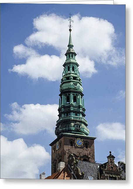 Saint Nicholas Church Steeple  - Copenhagen Denmark Greeting Card by Jon Berghoff
