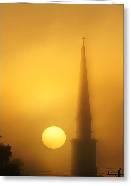 Ghostly Greeting Cards - Steeple In Fog At Sunrise Greeting Card by Alexandr Grichenko