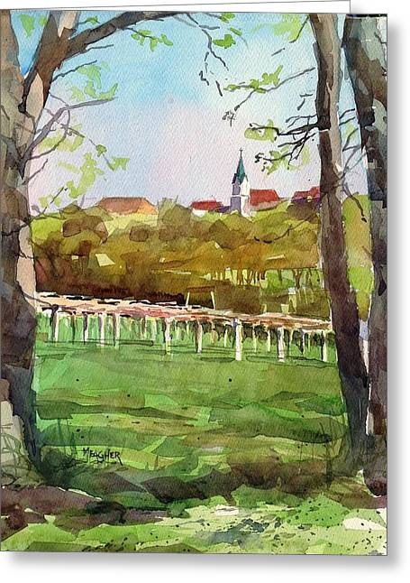 Grape Vineyards Greeting Cards - Steeple View Greeting Card by Spencer Meagher