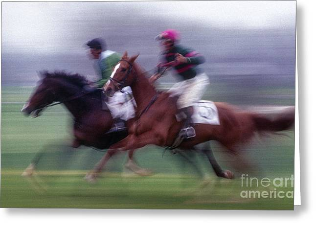 Steeplechase Race Greeting Cards - Steeplechase #1 - FS000283 Greeting Card by Daniel Dempster