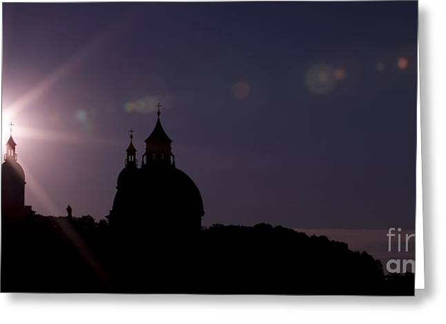 Salzburg Pyrography Greeting Cards - Steeples at sunset Greeting Card by Maurizio Bacciarini