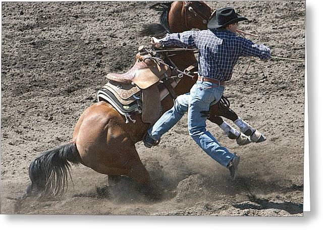 Roping Horse Greeting Cards - Steer Roping Horse Greeting Card by Daniel Hagerman