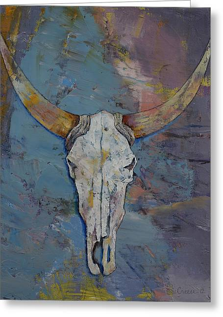 Steer Greeting Cards - Steer Skull Greeting Card by Michael Creese