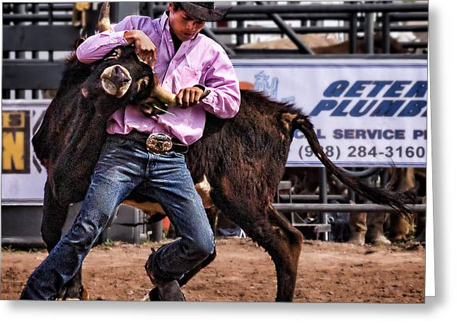 Steer Greeting Cards - Steer Wrestling at the Cottonwood High School Rodeo Greeting Card by Priscilla Burgers