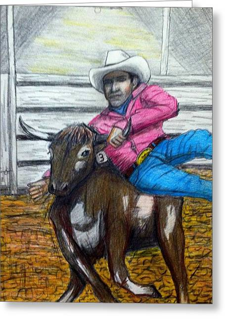 American Cowboy Gallery Greeting Cards - Steer wrestling original for sale Greeting Card by Larry Lamb