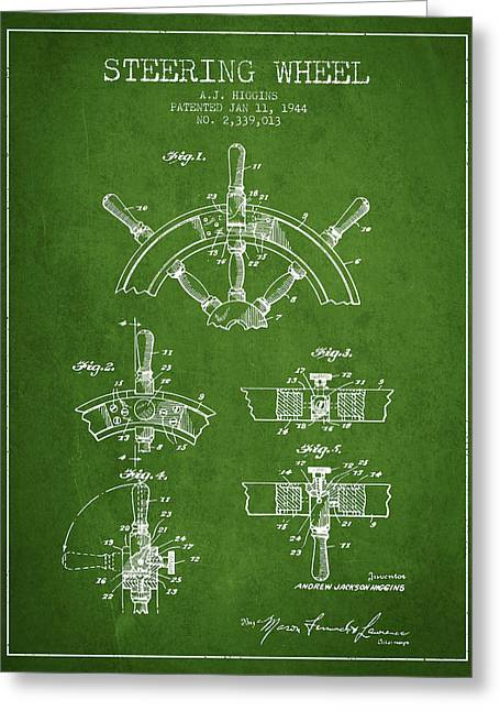 Steering Greeting Cards - Steering Wheel Patent Drawing from 1944  - Green Greeting Card by Aged Pixel