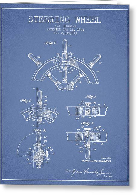 Steering Greeting Cards - Steering Wheel Patent Drawing from 1944  - Light Blue Greeting Card by Aged Pixel