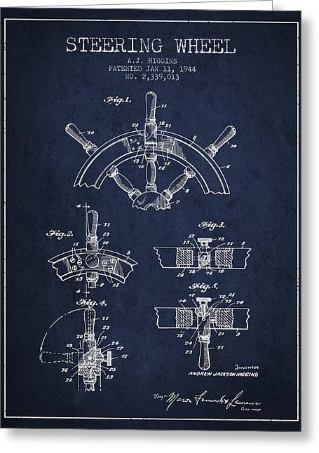 Steering Greeting Cards - Steering Wheel Patent Drawing from 1944  - Navy Blue Greeting Card by Aged Pixel