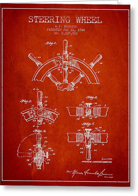 Steering Greeting Cards - Steering Wheel Patent Drawing from 1944  - Red Greeting Card by Aged Pixel