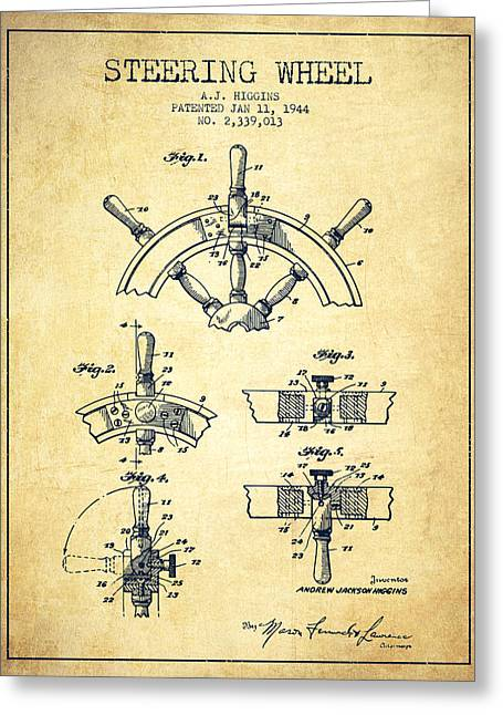 Steering Greeting Cards - Steering Wheel Patent Drawing from 1944  - Vintage Greeting Card by Aged Pixel