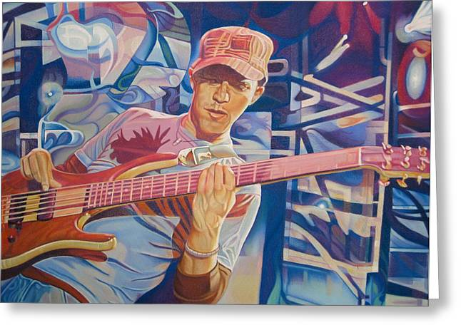 Bass Player Greeting Cards - Stefan Lessard and 2006 Lights Greeting Card by Joshua Morton