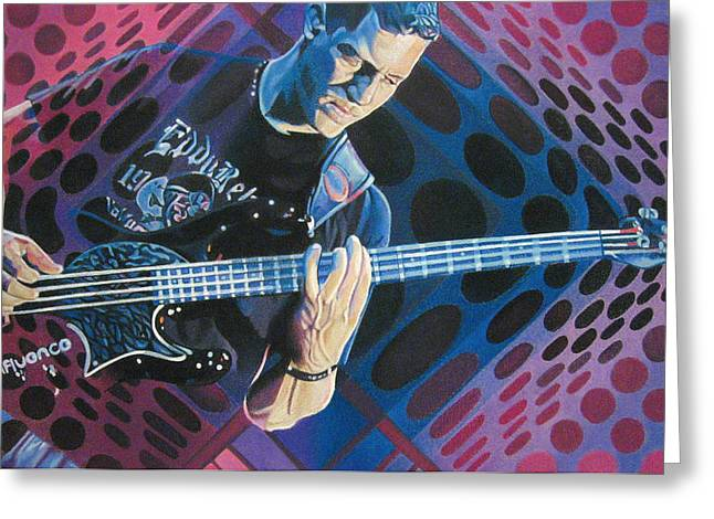 Bass Player Greeting Cards - Stefan Lessard Pop-Op Series Greeting Card by Joshua Morton