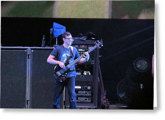 Dave Matthews Band Concert Greeting Cards - Stefan rocks the base Greeting Card by Aaron Martens