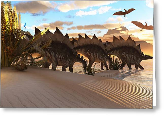 Triassic Greeting Cards - Stegosaurus Dinosaur Greeting Card by Corey Ford