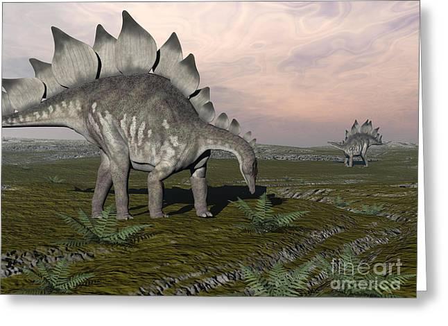 Stegosaurus Greeting Cards - Stegosaurus Dinosaurs Grazing On Plants Greeting Card by Elena Duvernay