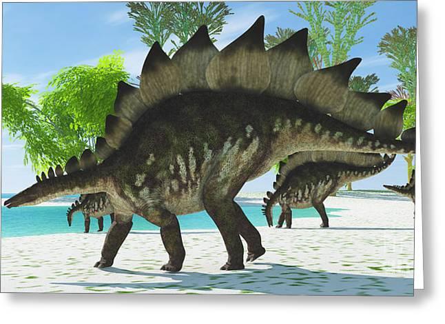 Stegosaurus Greeting Cards - Stegosaurus Lake Greeting Card by Corey Ford