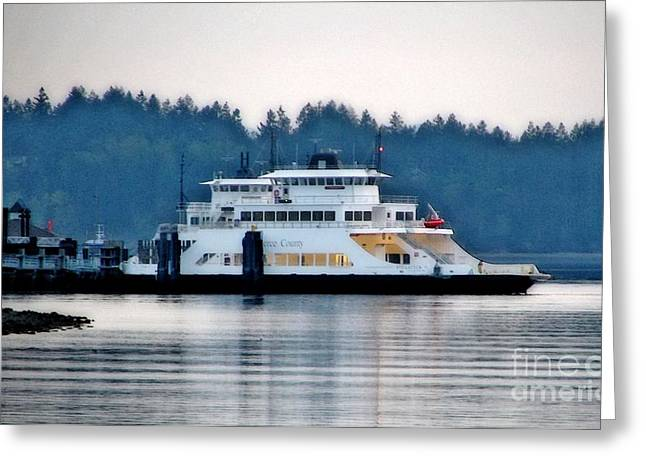 Mistymisschristie Greeting Cards - Steilacoom Ferry At Dusk Greeting Card by Chris Anderson