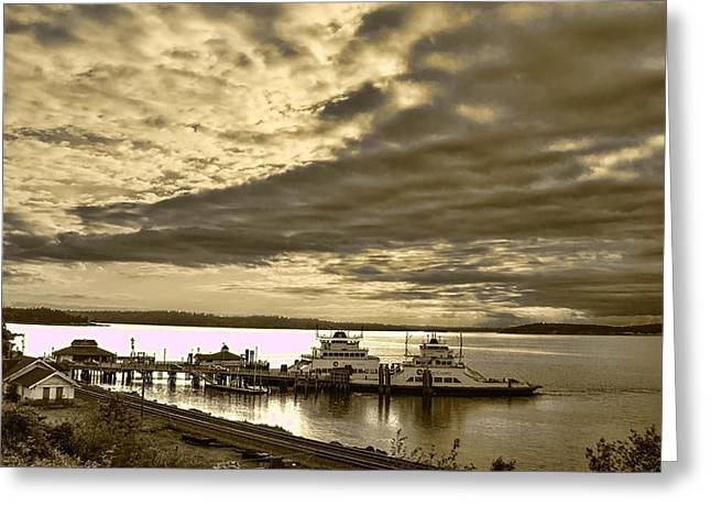 Puget Sound Framed Prints Greeting Cards - Steilacoom Ferry at Steilacoom WA Greeting Card by Ron Roberts